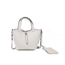 18CCCL Full Grain Lychee Mummy Bag Romantic White Silver Buckle
