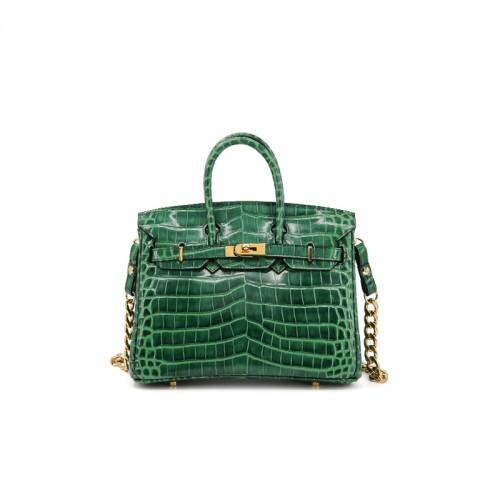 25/30CCBB Bay Crocodile Classic Emerald Gold Buckle