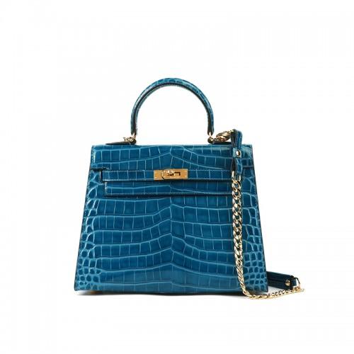 25/29CCKK Bay Crocodile Classic Jewelry Blue Gold Buckle