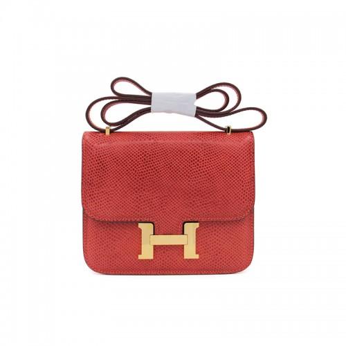 19/23CCDD Snake Grain Pandora Stewardess Bag Orange Red Gold H Buckle