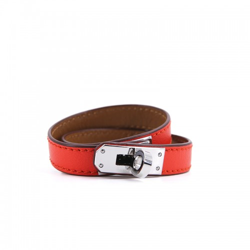 Flat Grain Orange Red Bracelet Silver Buckle