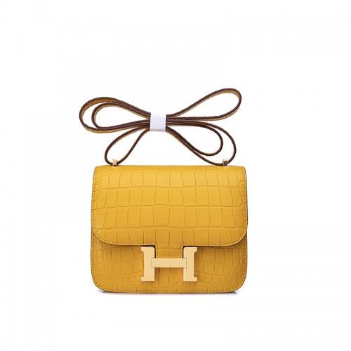 19ccdd smoggy Bay crocodile Pandora stewardess bag sun yellow h gold buckle