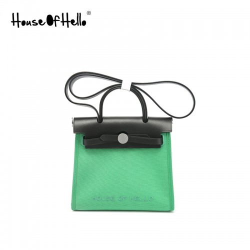 22 / 30mmss embroidered canvas bag classic bamboo green silver buckle