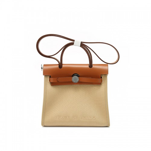 22/30MMSS embroidered canvas bag classic Khaki silver buckle