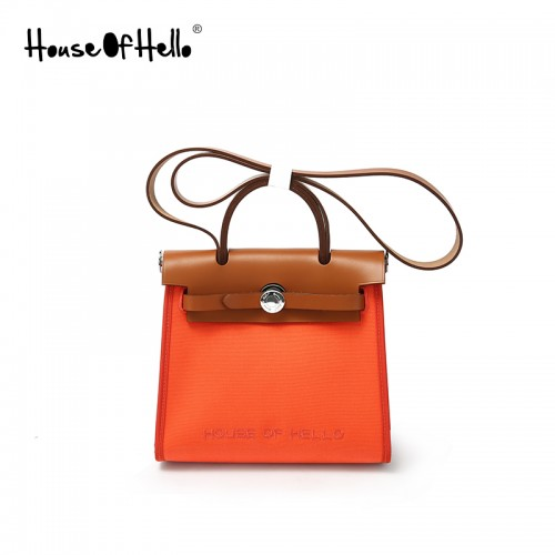 22mmss embroidered canvas bag classic light orange silver buckle
