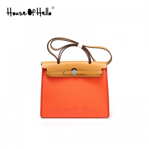 30mmss embroidered canvas bag classic light orange silver buckle
