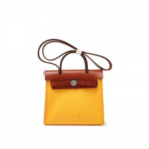 22 / 30mmss embroidered canvas bag classic sun yellow silver buckle