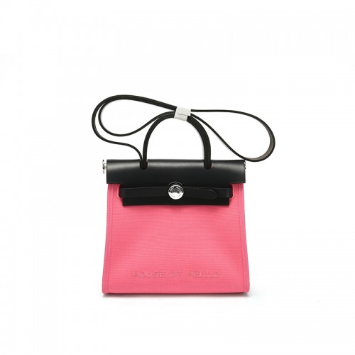 22/30MMSS embroidered canvas bag classic Lipstick Pink Silver Buckle
