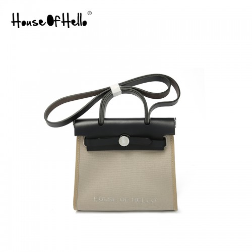 22 / 30mmss embroidered canvas bag classic light Khaki silver buckle