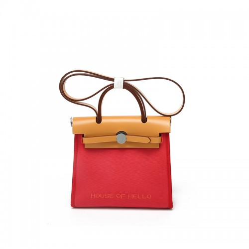 22/30MMSS embroidered canvas bag classic Chinese Red Silver Buckle