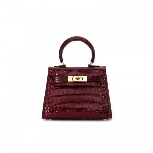 16CCKK Alligator Classic Wine Red Gold Buckle
