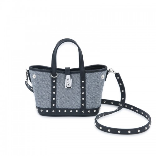 16CCKJ Denim Rivets Light Denim with Leather Silver Buckle