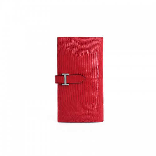 18BJBW Lizard Grain Chinese Red Wallet H Silver Buckle