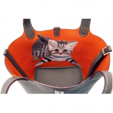 18CCCL Full Grain Litchi Mummy Bag Graffiti Elephant Gray and Orange Colorblock Silver Buckle (cat)