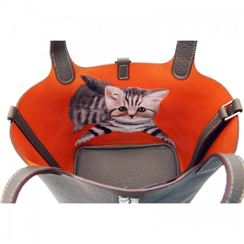 18CCCL Full Grain Litchi Mummy Bag Graffiti Elephant Gray and Orange Colorblock Silver Buckle (cat)