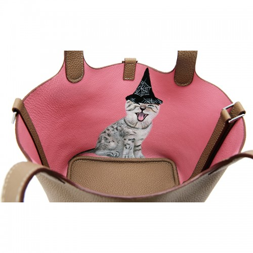 18CCCL Full Grain Litchi Mummy Bag Graffiti Light Khaki and Pink Silver Buckle Colorblock Silver Buckle (cat)