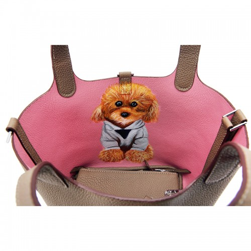 18CCCL Full Grain Litchi Mummy Bag Graffiti Light Khaki and Pink Silver Buckle Colorblock Silver Buckle (dog)