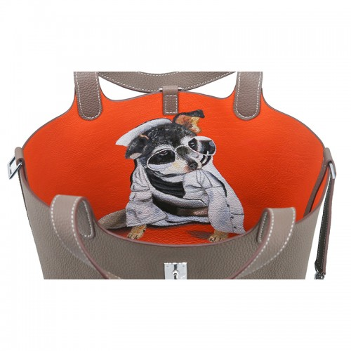 18CCCL Full Grain Litchi Mummy Bag Graffiti Elephant Gray and Orange Colorblock Silver Buckle (dog)