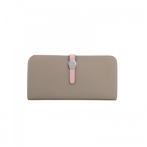 20TLYH Flat Grain Colorblock Light Khaki and  Baby Pink Wallet Round Silver Buckle