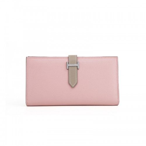 11/18TLHH Flat Grain Colorblock Light Khaki and Baby Pink Wallet Silver H Buckle