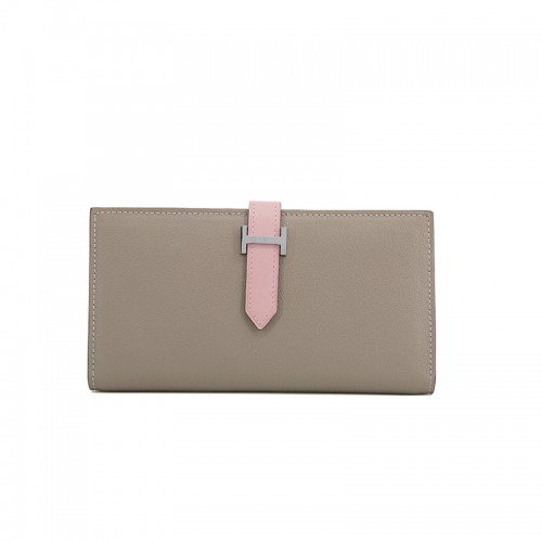 11/18TLHH Flat Grain Colorblock Light Khaki And Baby Pink Silver H Buckle