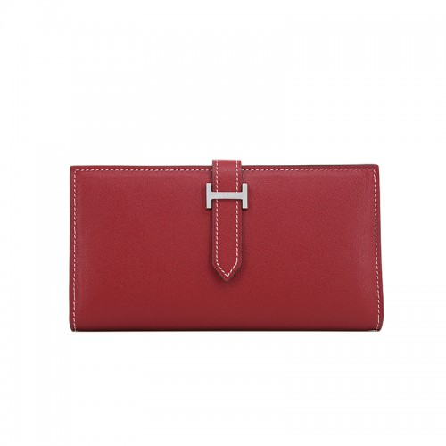 18TLHH Flat Grain Wine Red Wallet Silver H Buckle