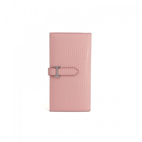 18BJBW Lizard Grain Baby Pink Wallet Diamond H Buckle