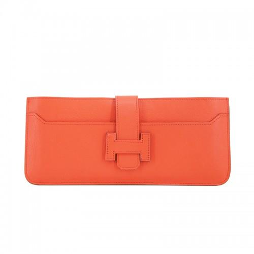 23TLOH Flat Grain Classic Orange Red Multi-Compartment Wallet
