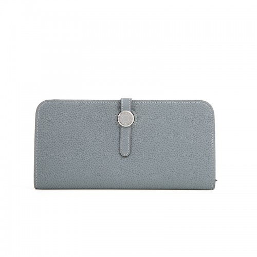 20TLYH Full Grain Lychee Flax Blue Wallet Round Silver Buckle