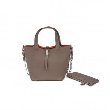 18/22CCCL Full Grain Lychee Mummy Bag Colorblock Elephant Gray and Orange Silver Buckle