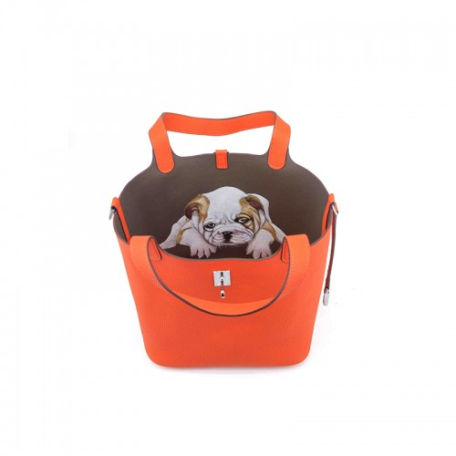 22CCCL Full Grain Litchi Mummy Bag Graffiti Light Orange and Elephant Gray Colorblock Silver Buckle
