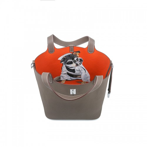 22CCCL Full Grain Litchi Mummy Bag Graffiti Elephant Gray and Orange Colorblock Silver Buckle