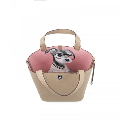 22CCCL Full Grain Litchi Mummy Bag Graffiti Light Khaki and Pink Silver Buckle Colorblock Silver Buckle