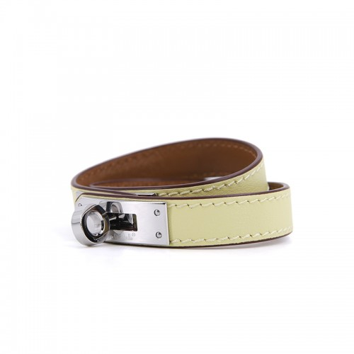 Flat Grain Light Yellow Bracelet Silver Buckle