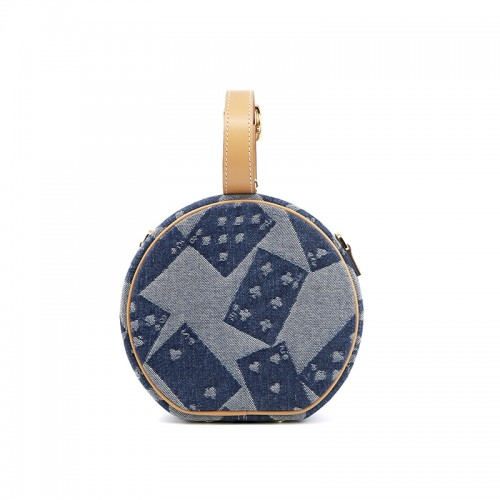 17CCYY Denim Poker Grain Dark Denim Blue Gold Buckle Circle Bag