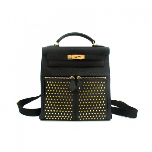 28CCSJ Lychee Grain Rivets Classic Black Gold Buckle Backpack