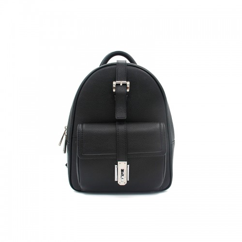 20/29CCSJ Lychee Grain Classic Black Silver Buckle Travel Backpack