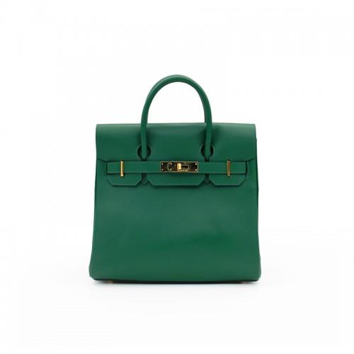 30CCSJ Flat Grain Classic Dark Green Gold Buckle Backpack