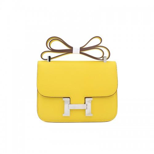19/23CCDD 手掌纹潘多拉空姐包柠檬黄色H银扣