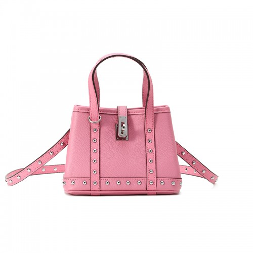16CCKJ Lychee Rivets Sakura Pink with Leather Silver Buckle